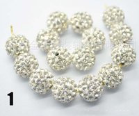 Wholesale white AAAA Row mm Gradient change Crystal Shamballa Beads DIY For jewelry making S0010