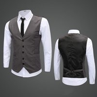 Wholesale 2016 New Leisure Mens Suit Vest Wedding Banquet Gentleman Suit Vests Fashion V Neck Slim Fit Beckham Vest For Men