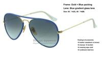 Acheter Or gros cadres lunettes-Brand new pilote JM Lunettes de soleil en métal de couleur pleine couleur 001 / 4M Lunette en or bleu gradient cadre en verre de qualité supérieure gafas de sol en gros