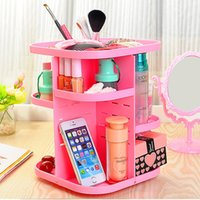 Wholesale 2016 Lastest Cosmetic organizer Box Korean Style Tabletop Rotating Large Capacity Pink Cosmetic Organizer Box New ABS Recommend