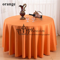 Wholesale Round Orange Color Polyester Table Cloth For Wedding