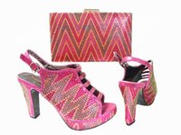 african sandals - Cherry Lady Nice African Wedding Shoes And Bag To Match With Stones Top Quality Women Sandal Fuchsia Italian Shoes With Matching Bags Pink