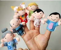 Wholesale 2016 new Retail Baby Plush Toy Finger Puppets Talking Props family members group set by DHL