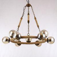 amber led rope lights - Vintage MODO Pendant Lights Hemp rope Iron art Pendant Lamp Amber Glass Lamp shade Chandelier Home Bar Lighting Fixture V031