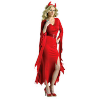 adult devil costumes - Sexy Red Halloween Devil Costume For Women Deluxe Adult Gothic Demon Cosplay