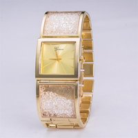 belt connection - The new design fashion gold diamond bracelet Strap Connection Box Shiny square small Business dial Sports quartz watch creative gifts