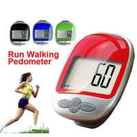 Wholesale 2016 new Electronic LCD Run Step Pedometer Walking Distance Calorie Kilometer Miles Counter Passometer Large Screen