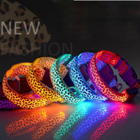 basic decor - Dog Glow Flashing Led Pet Dog Collar Light Leopard Print Design Puppy Necklace Luminous Pet Decors Product Glowing Dogs Collars Colors