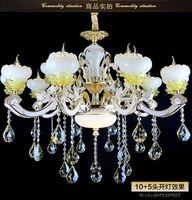 Wholesale European Led Crystal Pendant Lamps Modern Imitation Jade Chandelier Anti oxide Paint Flush Mount Intelligent Subsection Lights Best selling