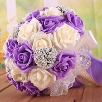 artificial lilac - Romantic Wedding Bouquet Lavender Lilac Perfect Wedding Favors Hand Holding Flower Artificial Flowers Adornment Silk Bridal Wedding Bouquet