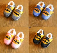 batman winter boots - 4 color pattern cartoon Batman mouthpiece boy home shoes winter children warm lazy cotton boots Casual boots LY