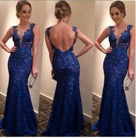 Wholesale 2016 Hot Selling Fashion Evening party Dresses For Women Lace V Neck Backless Sexy Bride Dresses Long Evening Party Dress