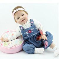 bebe mini skirt - 55cm Silicone Reborn baby Doll Handmade Bebe Cute Soft Dolls with Denim Skirt Doll Clothes Free Gift Cushion BrinquedodsToys