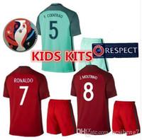 Wholesale New Product Uniforms Kit Youth Kids European Cup Portugal Flgo Ronaldo Nanl Soccer Jersey Red Light Green Away Home Jerseys