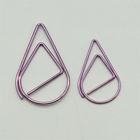 Wholesale Gold Teardrop Binder Clips Plating Spring Steel Metal Modeling Paper Bookmark Memo Clips Filling Supplies