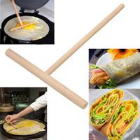 Wholesale 2Pcs set T Shape Crepe Maker Pancake Batter Wooden Spreader Stick Home Kitchen Tool Kit DIY Use