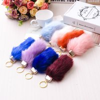Wholesale Artificial Fox Tail Soft Fur Ball Keychains Multicolor Plush Animal Fur Key Rings Car Bags Accessories