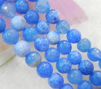 Wholesale Faceted mm Blue Dream Fire Dragon Veins Agate Round Gems Loose Beads quot AA
