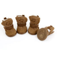 Wholesale Brown Hook Loop Closure Booties Pet Dog Chihuahua Shoes Boots Pair S Cheap boots long