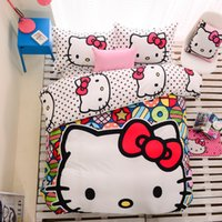 animations cotton cover - Colorful hello kitty Cotton Kids Bedding Sets Animation Cartoon Home Textiles Duvet Cover Sets Pieces Bedding Sets