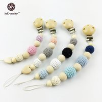 Wholesale baby Pacifier clips wooden round baby teething clip safe natural eco friendly Montessori toys nursing baby teether clips pc