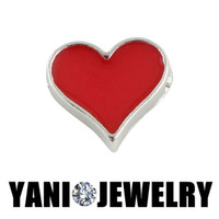 Wholesale Red Lovely Heart Charms for Bracelet Fashion Style Floating Lockets Charms for Living Memory Glass Locket Necklaces
