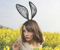 Wholesale Black magic lace Halloween Dance Party photography fun bunny rabbit ears mysterious veil Sexy Hair exaggerated hoop