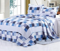 Wholesale Cotton Blue Geometric Quilted Bedspread Queen Size Quilt Set Home Hotel Coverlet High Quality Bedcover