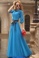 al por mayor falda acolchada-Envío libre 2016 mujeres de moda de otoño, el nuevo vestido bohemio, falda de la playa de la manga sólido-acolchada un solo pecho, vestido delgado de longitud