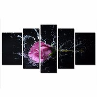 art deco picture framing - LK5139 Panels Purple Lavender Rose Splashing Into Water Oil Painting Picture Print On Canvas Modern Wall Art Flower Pictures For Home Deco