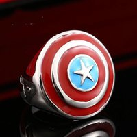 america factory - HOT FACTORY price Captain America stainless steel biker punk ring for