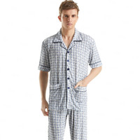bamboo loungewear - Classic Plaid Pajama Sets Short Sleeved Men s Sleepwear Plus Size Cotton Pyjamas Sleep amp Lounge Men Mens Sexy Loungewear