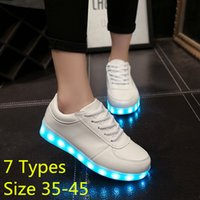 Wholesale 7 Types Colorful Gowing Shoes with Lights Up Led Luminous Shoes A New Simulation Sole Led Shoes for Adults Neon Basket Led