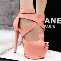 belt pump - New Summer Peep Toe Gladiator Pumps Women High Heels Sexy Party Nightclub Sandals PU Leather Pumps New Cross Belt Brand Design Pumps