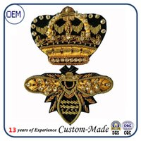 Wholesale Custom whosales India silk emblem handmade embroidery patch Fashion Accessories import package chapter dress embroidery chapter crown bee