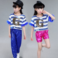 Wholesale Popular Child Dancewear Shining Sequins Girl s Jazz Hip Hop Modern Dance Clothes Hip hop Costumes Stage Performance Clothing UD0004