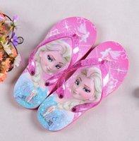 Wholesale New Summer Cartoon Flip Flops Girls Elsa Sandals Beach Anti Slip Slippers Girls Flat Shoes Sandal mini Melissa Shoes
