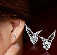 Wholesale Fashion Women Angel Wings earrings piercing Sterling Silver Clear CZ Stud Earrings double side earrings jewelry Bijoux Femme