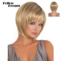 Cheap Wholesale-32cm Fluffy Short Blonde Wig Cosplay 2016 New Fashion High Quality Short Wig Hairstyles Heat Resistant Party Wigs for Women