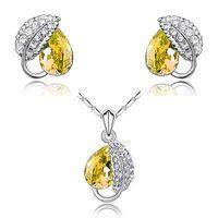 aqua gemstones - ZENGYUJIN gemstone Austria new high end high quality whiteminne Diamond Crystal Necklace Earrings Jewelry Set set g002