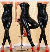 al por mayor cadena de una sola pieza-El negro atractivo de la PU de la ropa interior envolvió el vestido de una sola pieza de las muchachas del negro de la PU que atan el vestido + g cadena + liga 3pcs determinado uniforme del traje de la ropa de noche