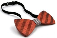 Wholesale Wood Bow Ties Handmade Vintage Traditional Bowknot For Gentleman Wedding Wooden Bowtie Father s day