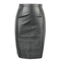 Wholesale 2016040301 Spring New Arrival PU Faux Leather High Waist Back Zipper Midi Tight Pencil Casual OL Skirt in Black Orange