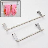 Wholesale Portable Stainless Steel Towel Bar Tower Holder Hanger for Kitchen Bathroom Cabinet Cupboard Door Hanger Hanging Bar Hook JI0174