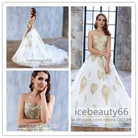 Wholesale 2017 Gold And White Lace Wedding Dresses Ball Gown Sweetheart Tulle Bridal Gowns Plus Size Corset Back