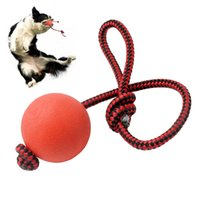 Wholesale 20 Solid Rubber Dog Ball Toys With Rope Puppy Pet Play Chew Ballsl Interactive Training Toy For Small Medium Dogs