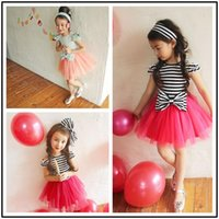 Wholesale Girls princess dress girls Bows shoulder tulle tutu dress kids party dress children holiday dress