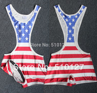 american flag singlet - American Flag Wrestling Singlet Outfit Weight lifting Gym Building sports Outfit Sexy Open Belly