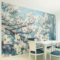 apricots fiber - Custom Mural Wall Paper Living Room TV Non woven Murals Warm Bedroom Backdrop Wallpaper Nostalgic Apricot Painting Wall Covering