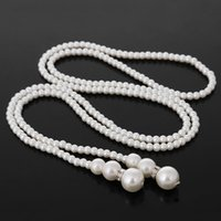 Wholesale Hot Sale Fashion Womens Ladies White Artificial Pearls Long Chain Charm Necklace For Valentine Wonderful Gifts